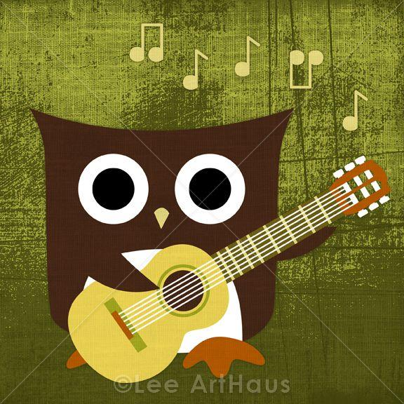 29R Retro Owl with Guitar 6x6 Print | Hoot Hoot | Pinterest | Owl ...
