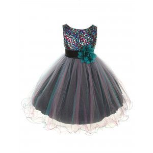 4002148c5241 Kids Dream Big Girls Teal Blue Sequin Tulle Plus Size Christmas Dress 16.5- 20.5