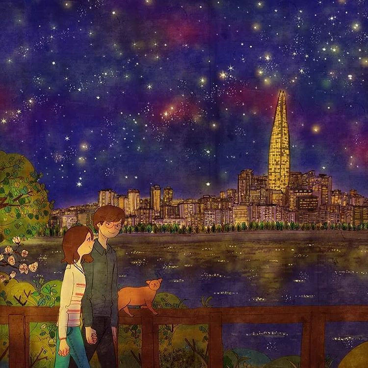 We walked along the lake after late dinner.    See a full illustration : grafolio.com/works/205676