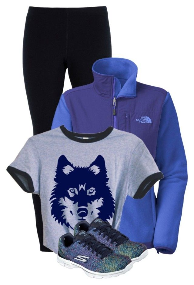 """""""Blue duck n wolf"""" by bella8 ❤ liked on Polyvore featuring NIKE, The North Face and Skechers"""