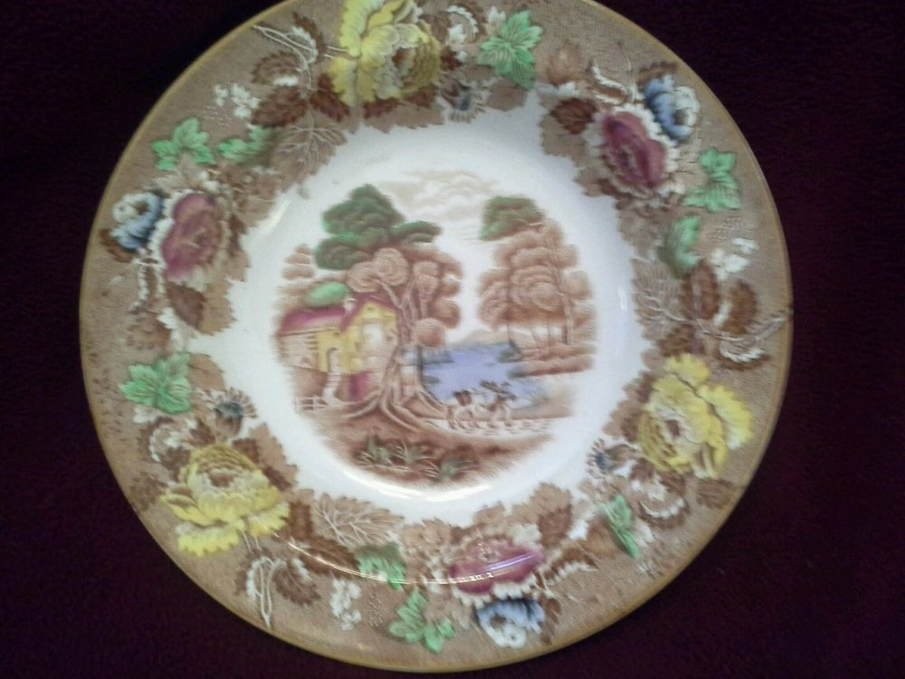 """Vintage """"English Scenery"""" brown  Transferware Bowl By Enoch Wood & Sons #WoodSonsEngland"""