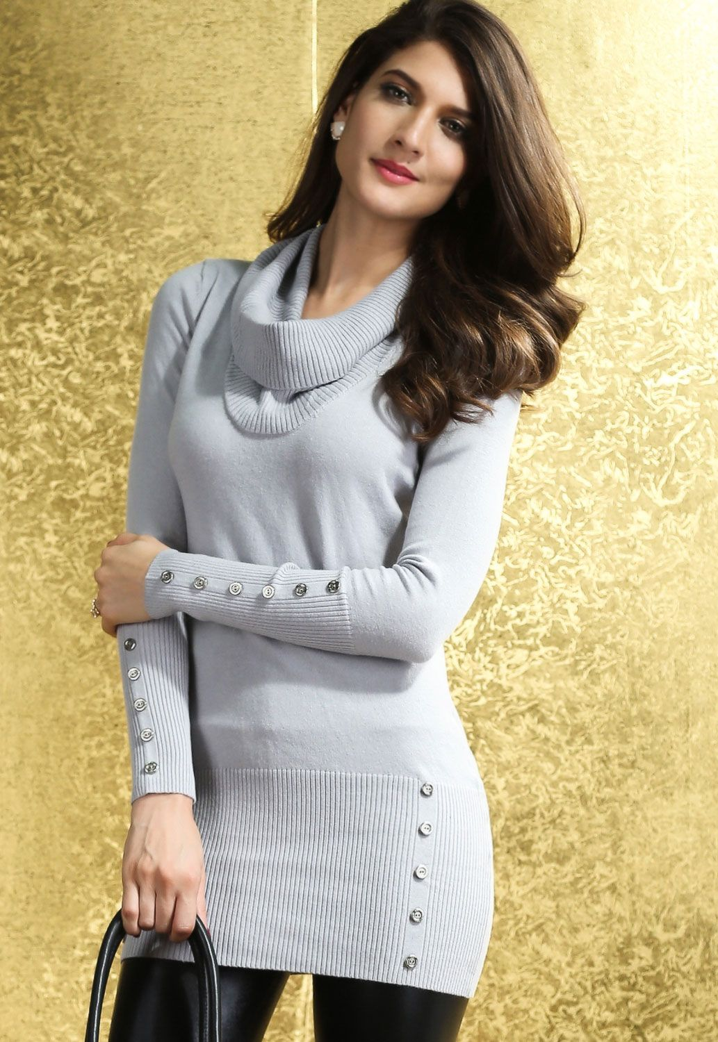Gray Cowl Neck Buttoned Sweater Dress US$ 19.64 | Sweater Dresses ...