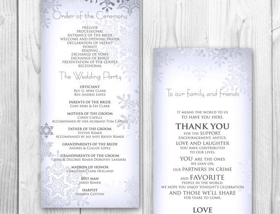 WINTER WEDDING PROGRAM Order of service by DesignedWithAmore ...