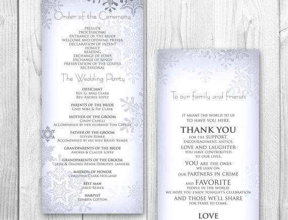 winter wedding program order of service by designedwithamore 25 00