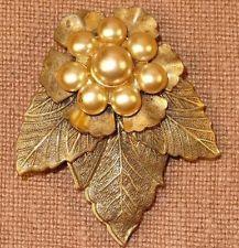 Victorian Art Nouveau Brass Faux Pearl Flower Leaves Dress Clip