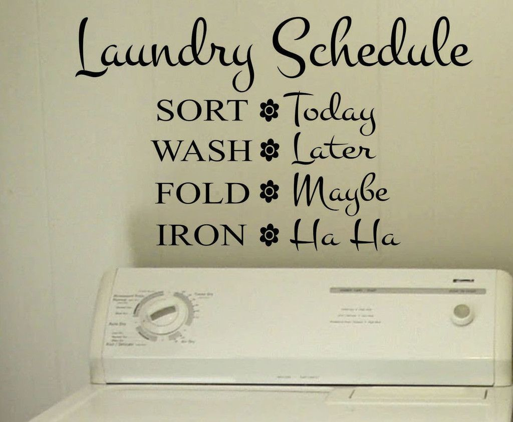 Laundry Room Quotes For Walls Stunning Laundry Schedule  Humorous Decals  Vinyl Wall Lettering Design Ideas