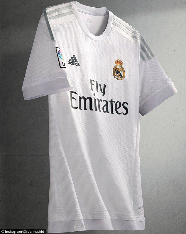 7a834d27a Real Madrid s new 2015-16 kit features an all-white design with subtle  light grey stripes.