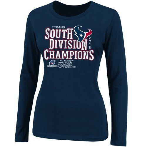 Houston Texans Ladies 2012 AFC South Division Champions Long Sleeve T-Shirt  - Navy Blue fa6862c42