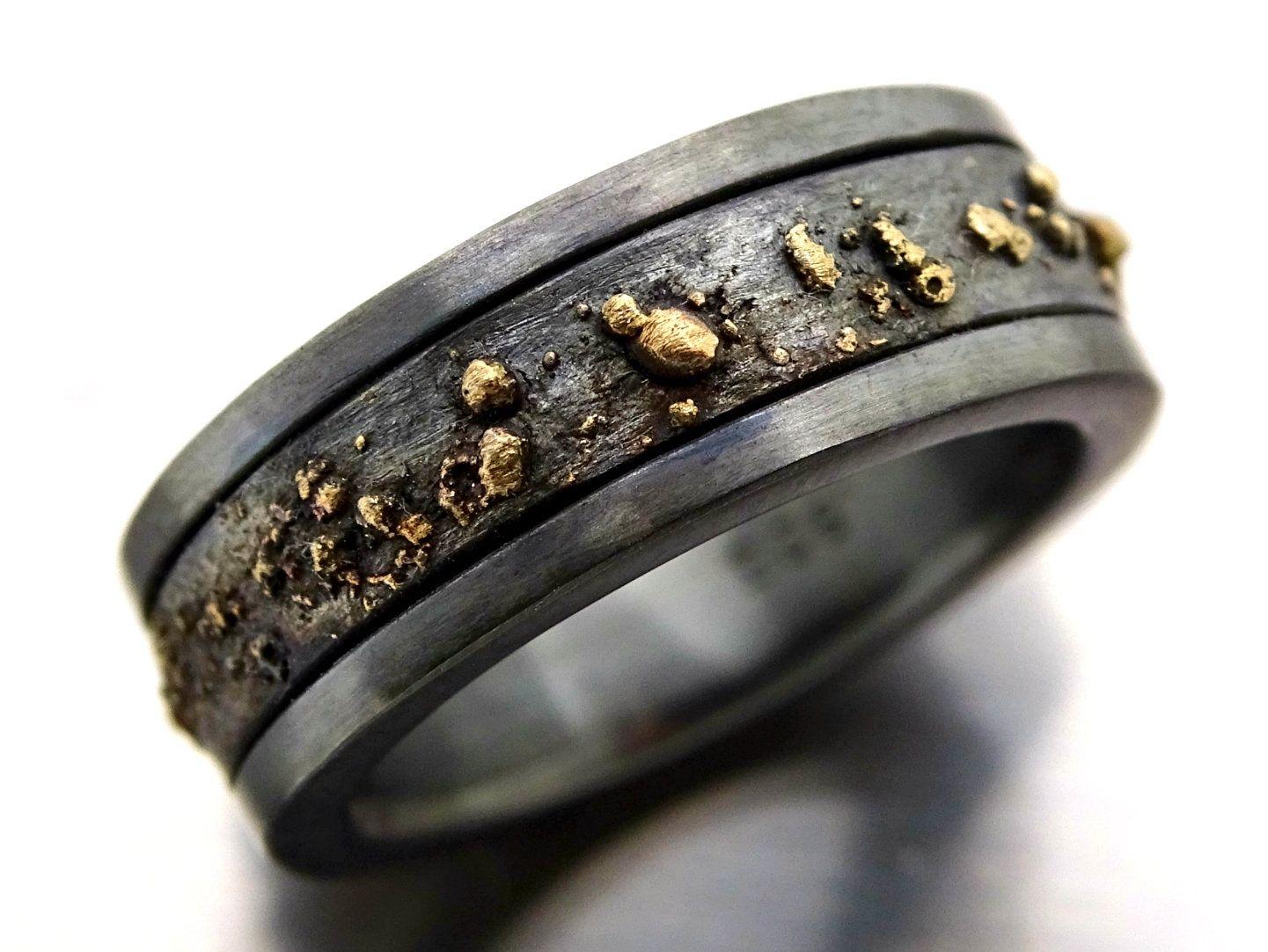 Mens Wedding Band Black Gold Ring Men Viking Wedding Band Etsy Black Gold Ring Rings For Men Mens Gold Rings