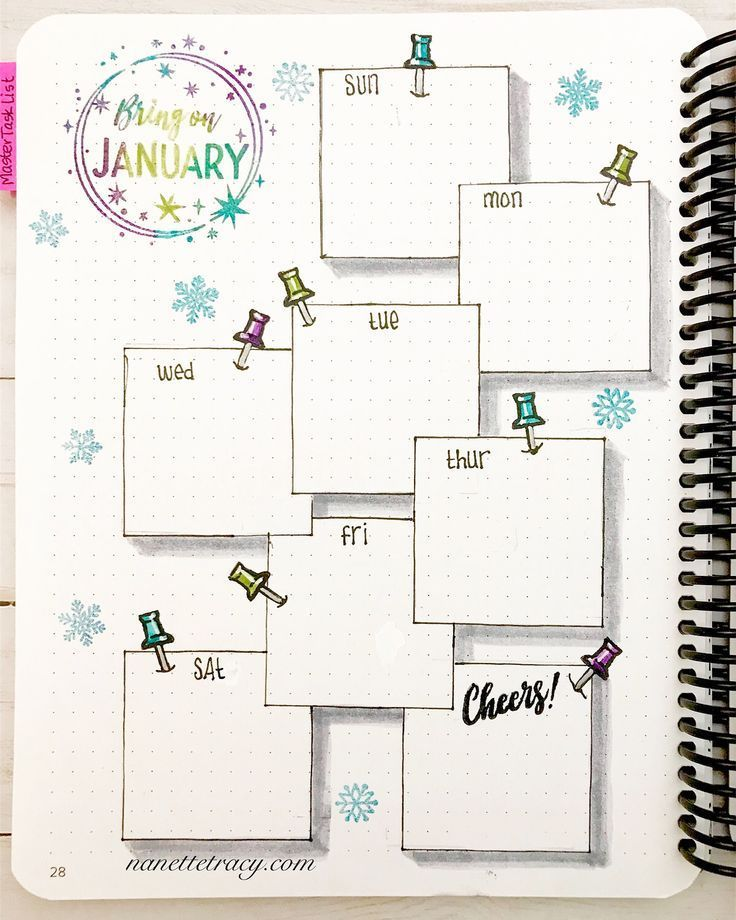 January Layout in my @canvobulletjournal from @catherinepooler with #catherinepoolerdesigns stamps and inks