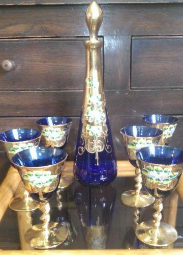 Art-Nouveau-Moser-Bohemian-Czech-blue-decanter-amp-6-twisted-stem-wine-glasses