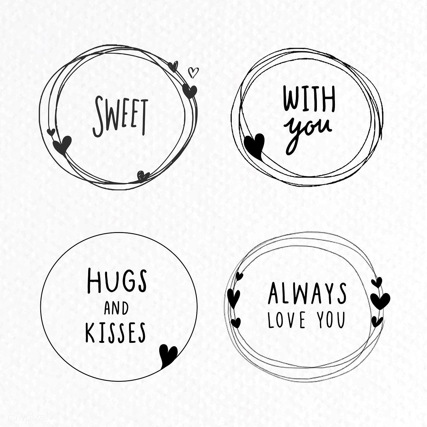 Download premium vector of Doodle love frame collection