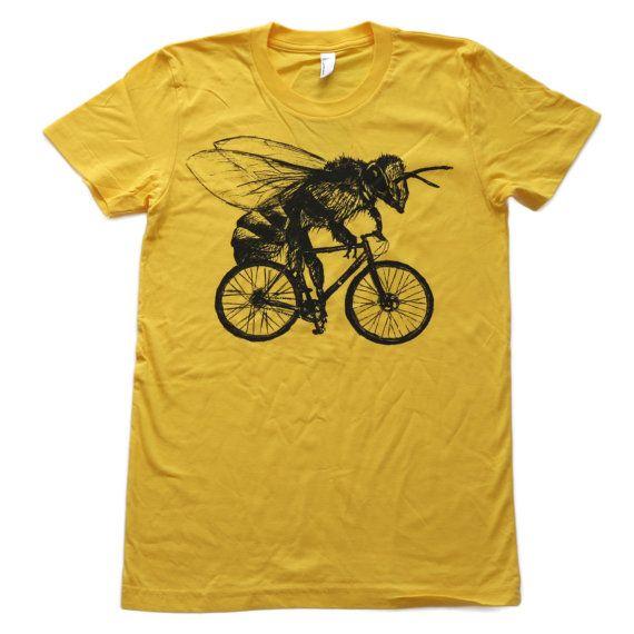 Abeja en una bicicleta camiseta amarillo sol por darkcycleclothing
