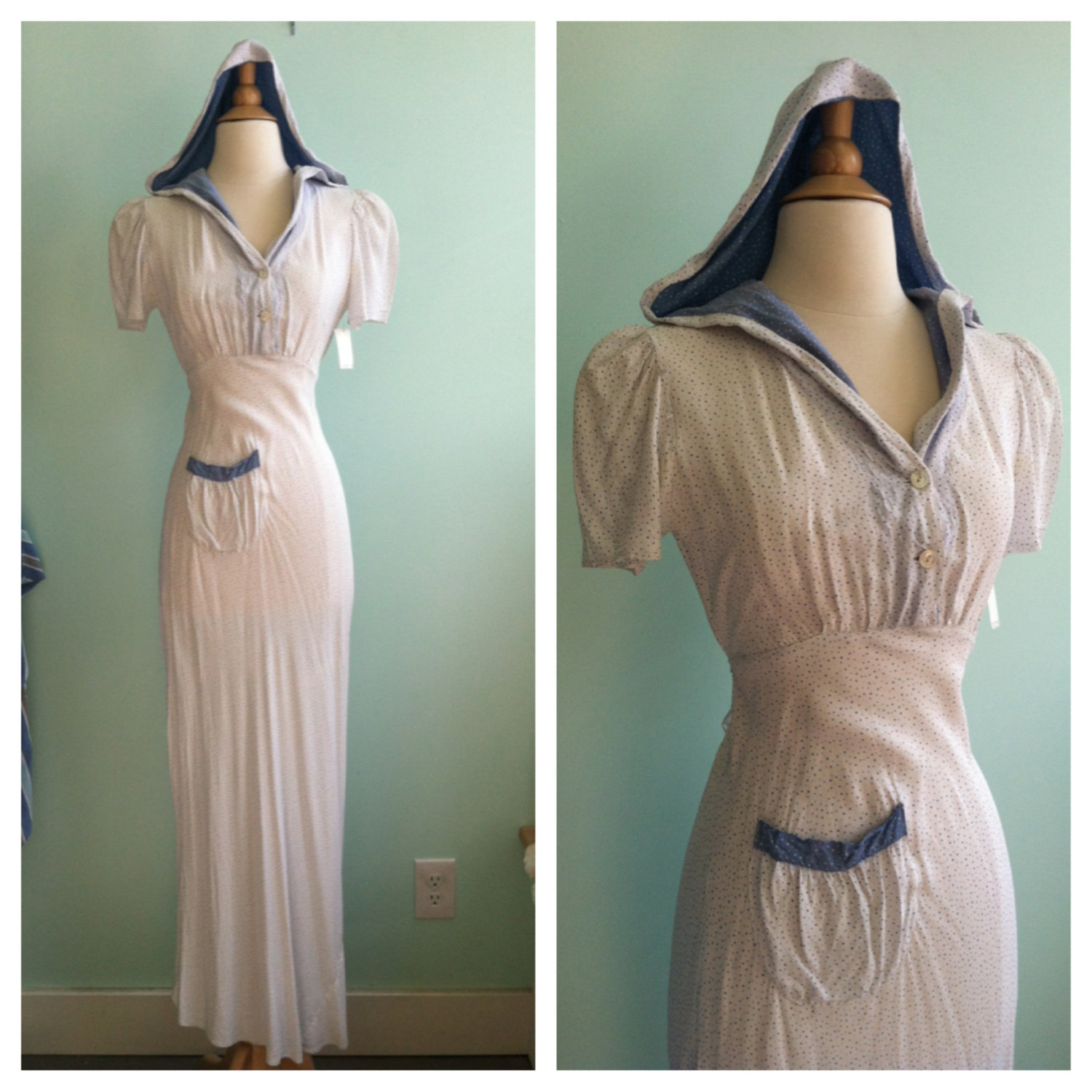 Hooded 1930s 40s Summer Vintage Maxi Dress / Blue & White Polka dots ...