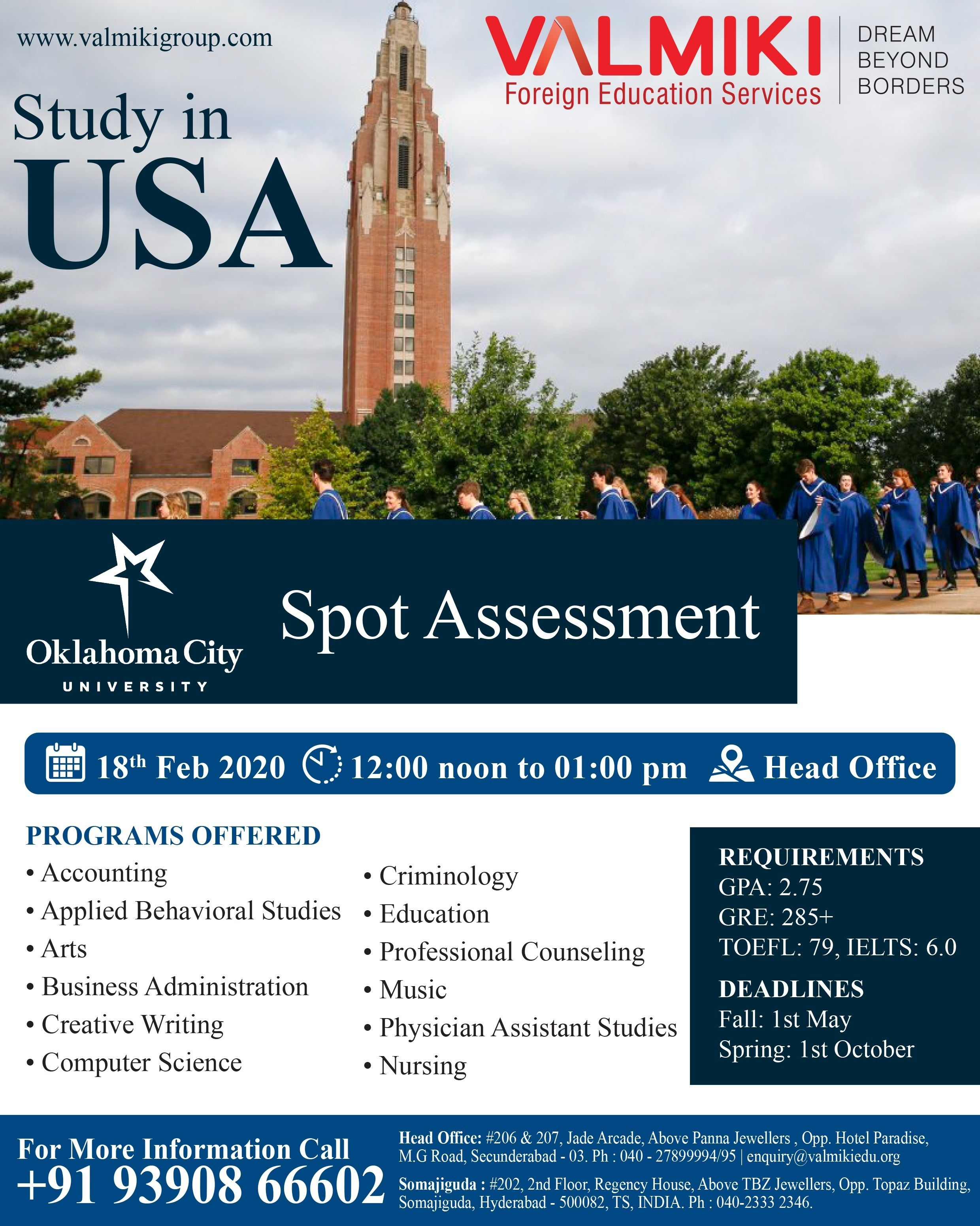 Study In Usa Educational Consultant Oklahoma City University Business Administration