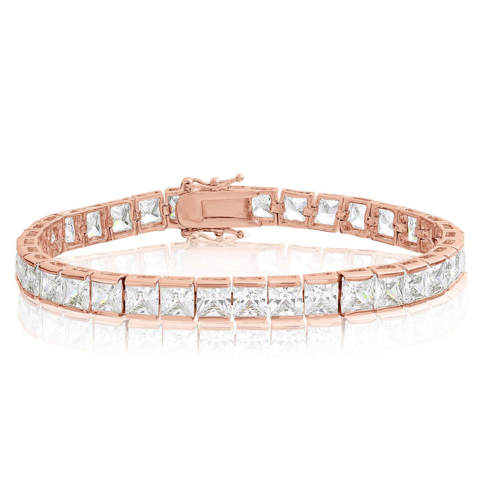 6bcefab63c6b4 Cubic Zirconia, Tennis Bracelet, Rose Gold Plated, 5x5mm Square ...
