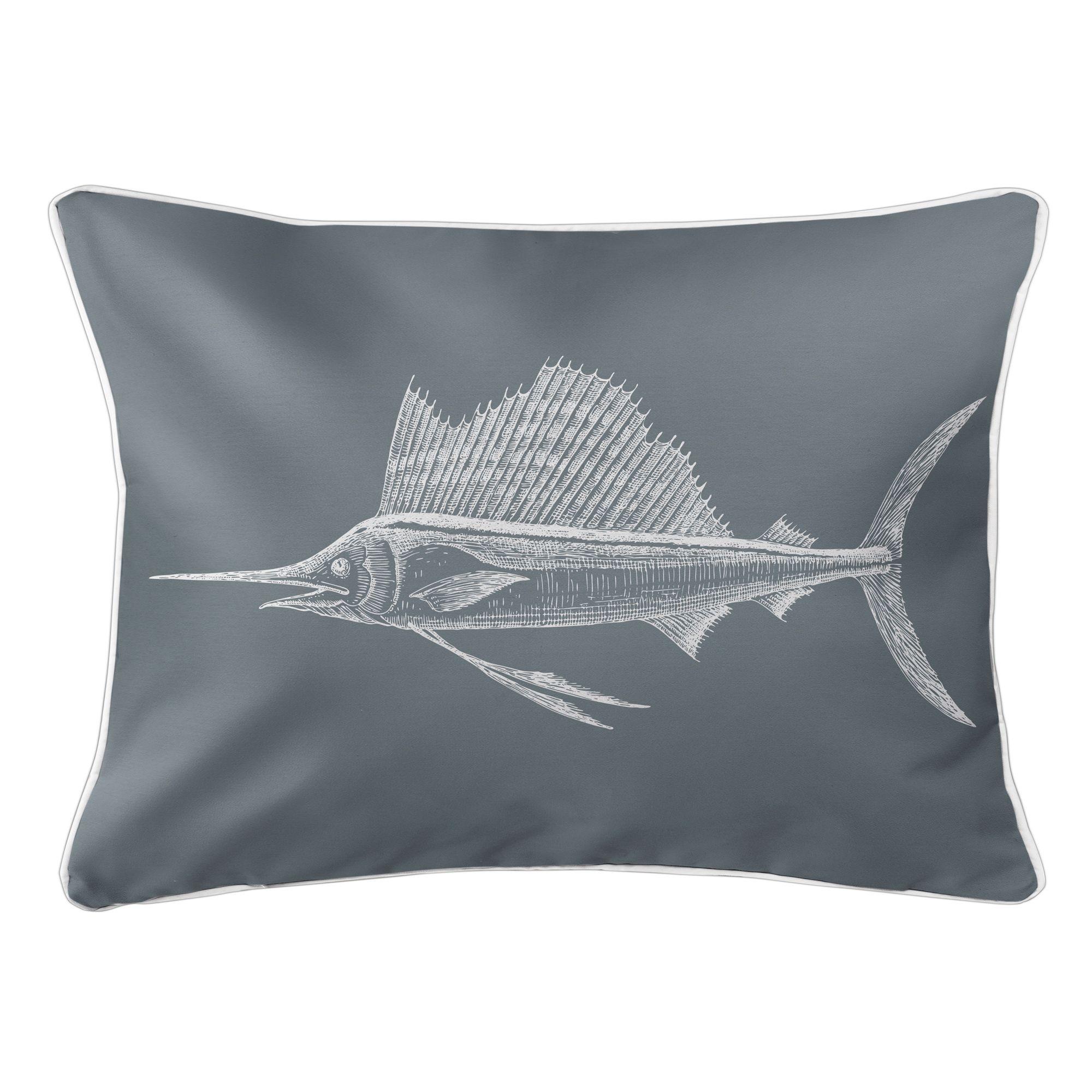 Sailfish Gray Lumbar Pillow In 2020 Lumbar Pillow Pillows Outdoor Pillows