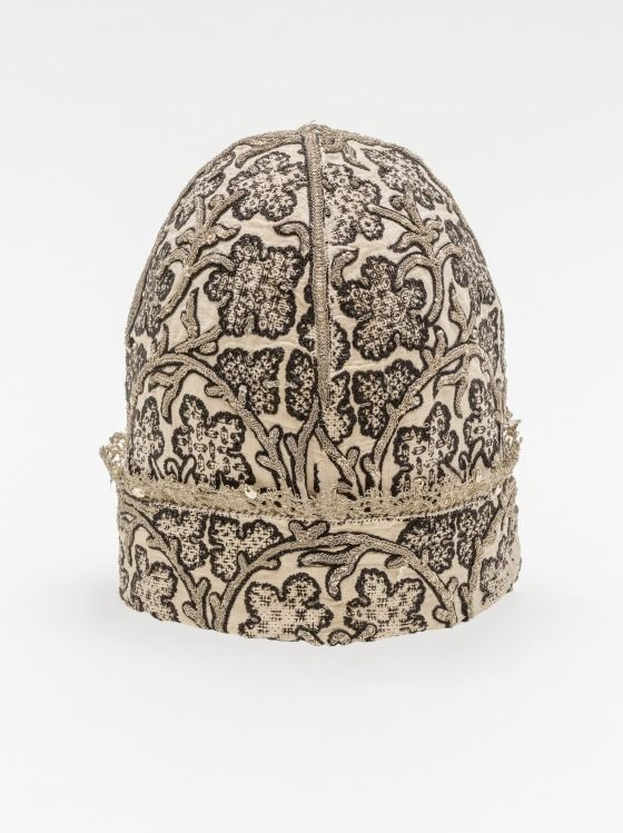 Man's At-home Cap (image 1) | England | second half 16th century | Linen plain weave, silk, metallic wrapped silk thread | Los Angeles County Museum of Art | Object #: M.2014.93.1