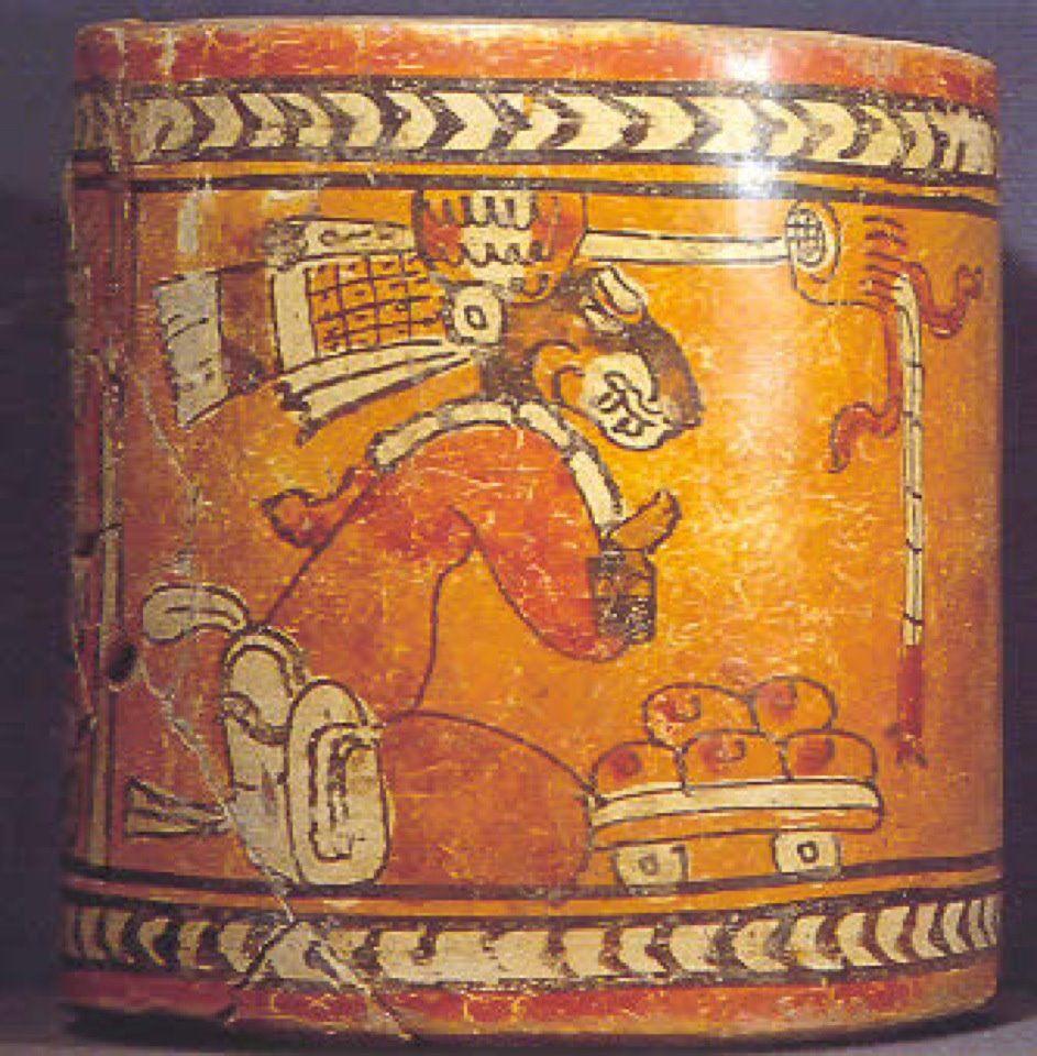 Inca Jaguar: Mayan Jaguar God Polychrome Container
