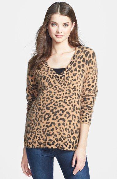 MICHAEL Michael Kors Leopard Print V-Neck Sweater