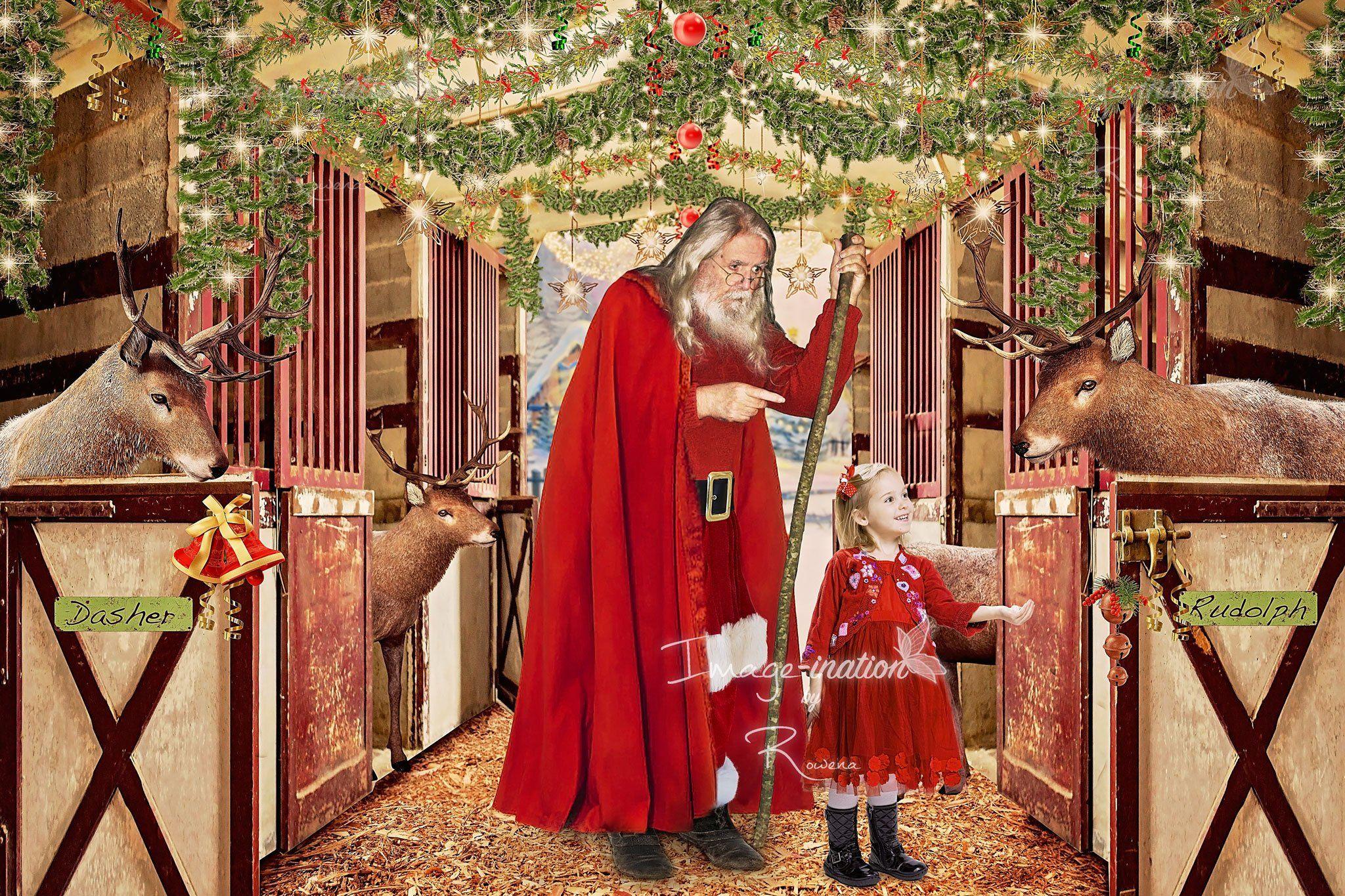 Santas Reindeer Barn 2 Versions Christmas Digital Background Digital Backdrop Composite Ar Digital Backdrops Santa And Reindeer Digital Art Supplies