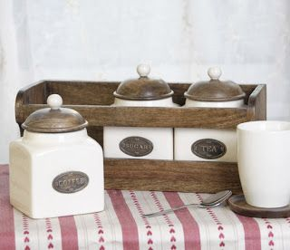 Country Kitchen Accessories Style Ceramic Tea Coffee Sugar Canisters