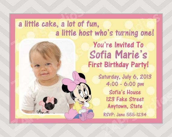 Baby minnie mouse birthday party invitation first birthday girl baby minnie mouse birthday party invitation first birthday girl stopboris Image collections