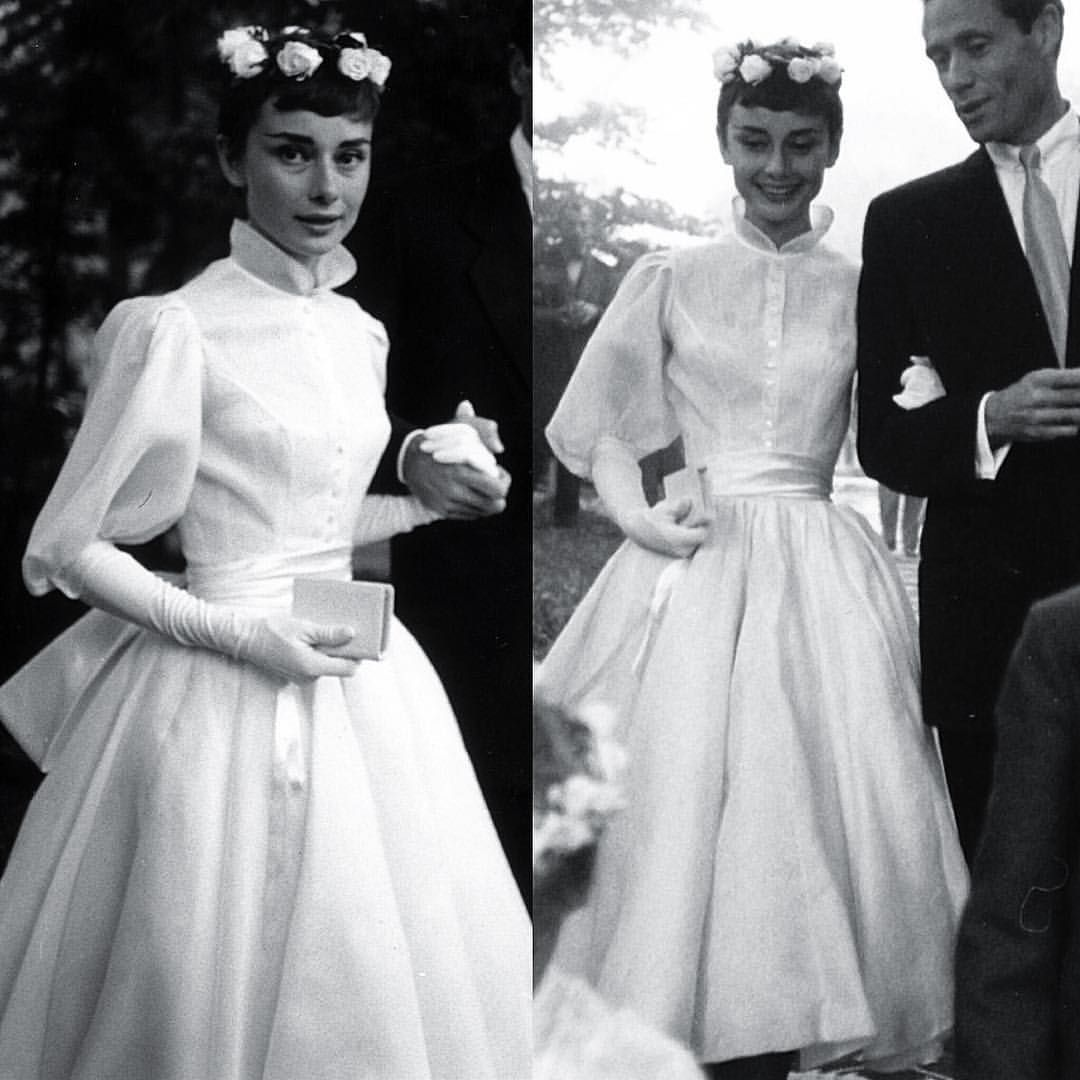 The Corseted Beauty On Instagram Audrey Hepburn Wedding Dress September 1954 Audrey Hepburn Wedding Audrey Hepburn Wedding Dress Vintage Wedding Dress 1950s