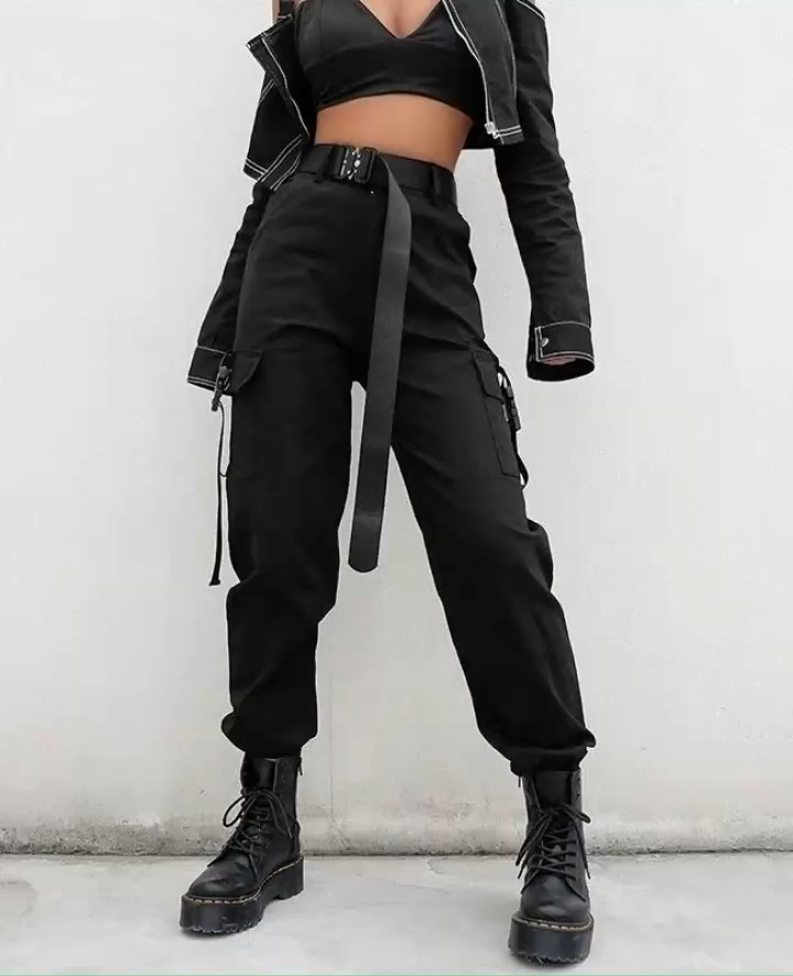 High Waist Women Black Cargo Pants