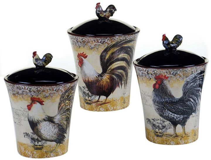 Certified International Vintage Rooster 3 Pc. Kitchen Canister Set