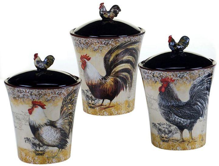 Certified International Vintage Rooster 3 Pc. Kitchen Canister Set