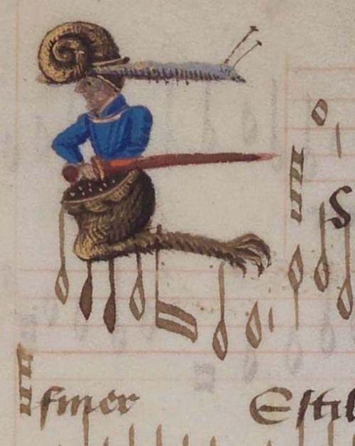 Herzog August Bibliothek Wolfenbüttel. Cod. Guelf. 287 Extrav. detail of f. 2v. Chansonnier (15th century)