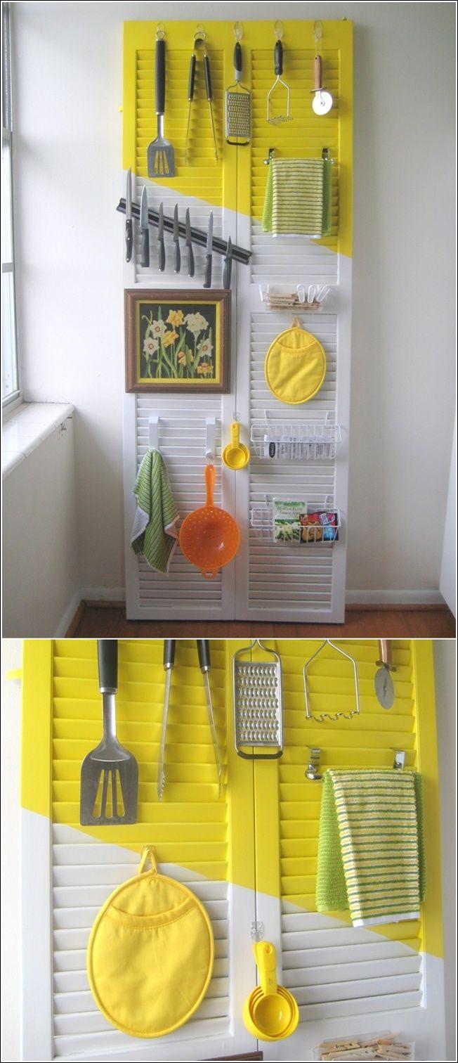 Louvred door on wall as organizer. http://www.amazinginteriordesign ...
