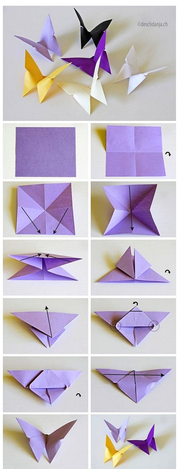Tutorial Lengkap Membuat Hiasan Dinding R Buatan Sendiri Dari Kertas Origami Berbentuk Kupu Cantik Warna Warni