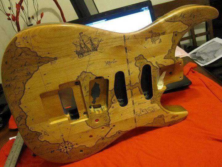 old world map superstrat body  Guitars  Bass  Pinterest