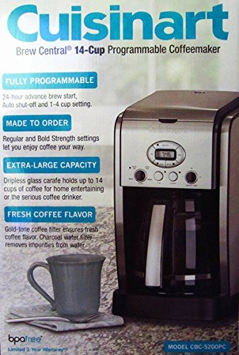 Cuisinart 14cup Coffeemaker Machine Brew Central Programmable Cbc5200pc Be Sure To Check Out This Aw Coffee Maker Antique Coffee Grinder Coffee Maker Reviews