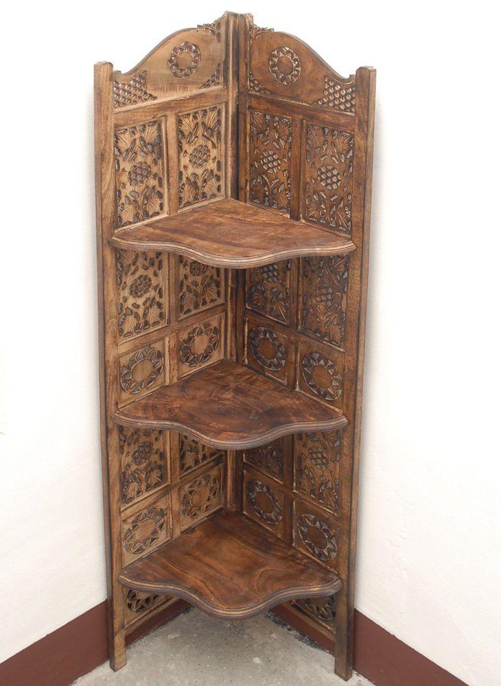 Corner cabinet bookshelf screen room divider forniture indian hand ...