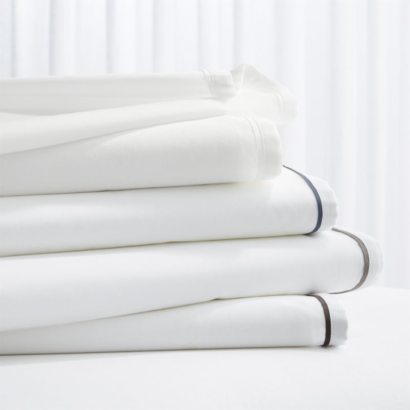 866891133f Shop Haven Percale Sheet Sets. Haven adds modern definition to crisp white  cotton bed linens with pillow cases and flat sheets accented with sateen  piping.