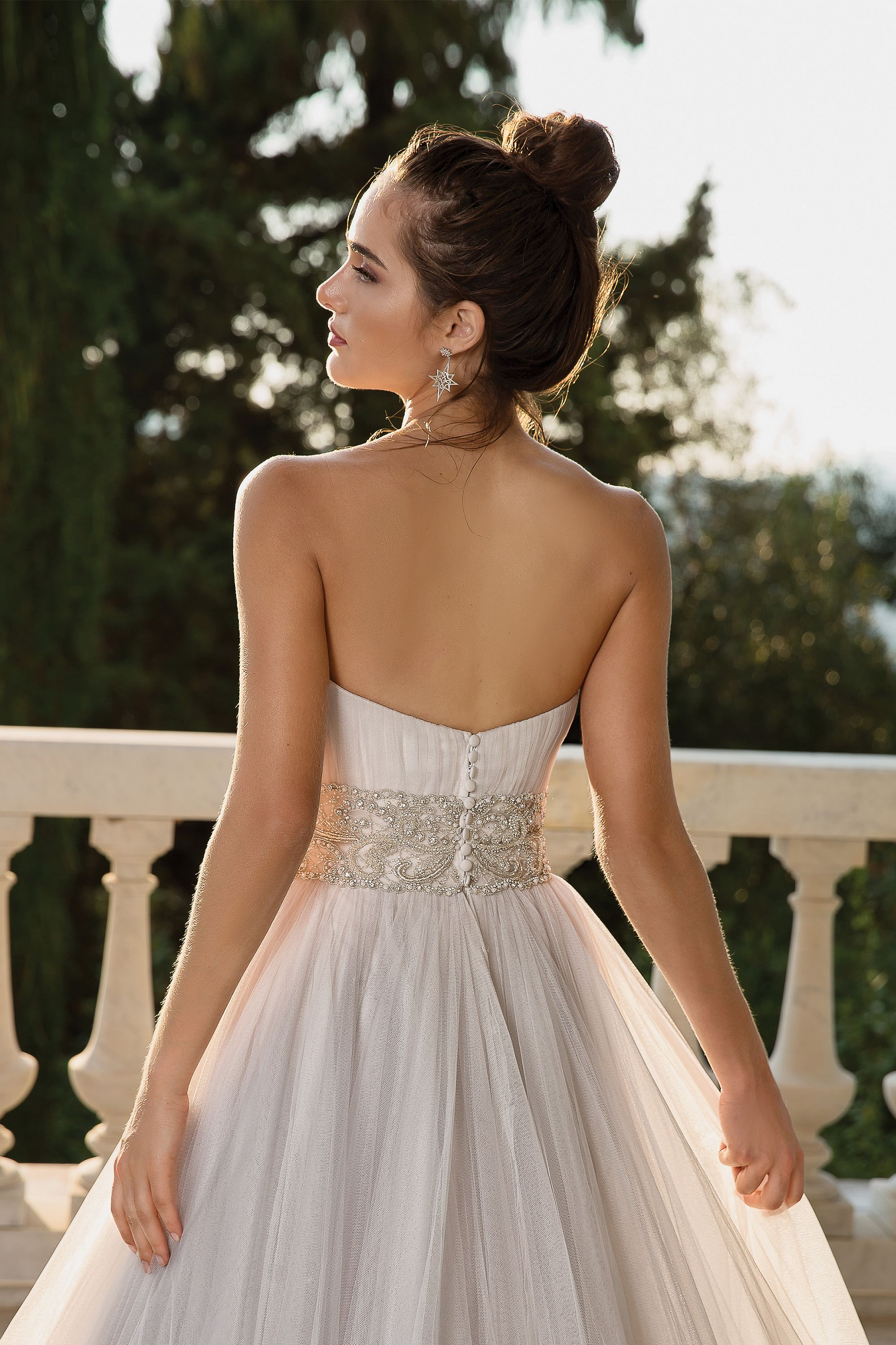 Style 88102 English Net Ball Gown with Detachable Beaded