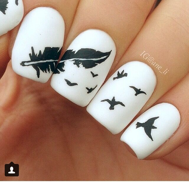Feathers in the wind | esmalte | Pinterest | Feather nail art and ...