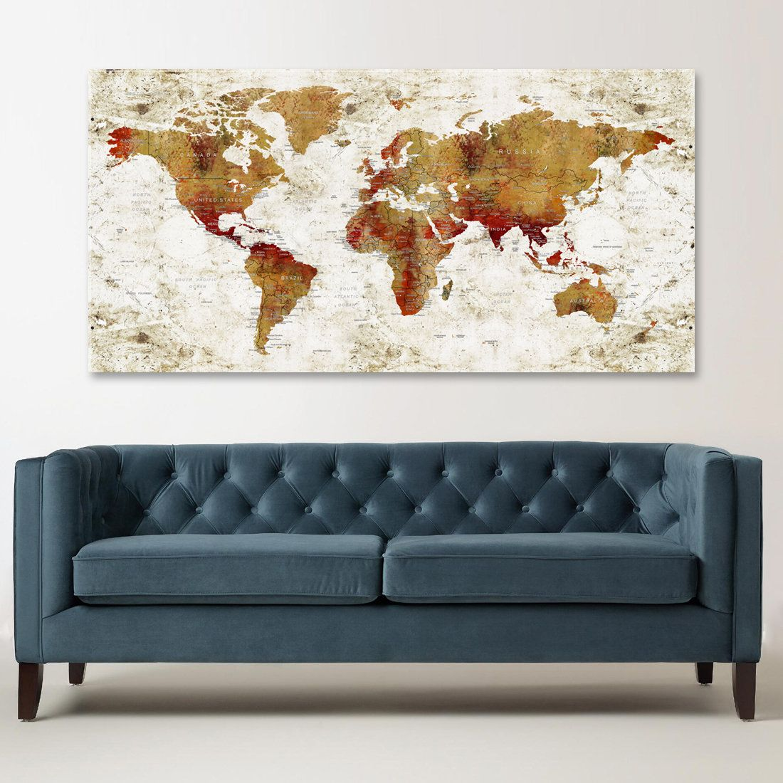 World map canvas world map wall decor push pin travel map large my new design to my etsy shop large world map canvas wall art gumiabroncs Image collections