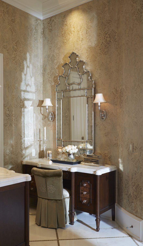 Master Bathroom Vanity | Makeup Vanity | Elegant Bathroom Mirror | Wall  Faux Finish | Interior