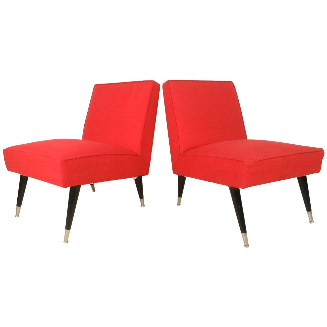 Captivating Pair Mid Century Modern Italian Style Slipper Chairs   From A Unique  Collection Of Antique