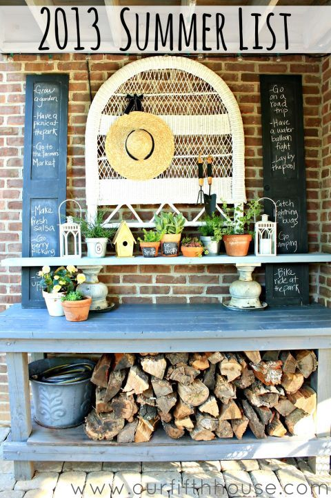 This blogger turned a work bench into a friendly display for greenery and other knick-knacks. The lower shelf stores firewood out of the way, and the top acts as a buffet during summer potlucks. See more at Our Fifth House »