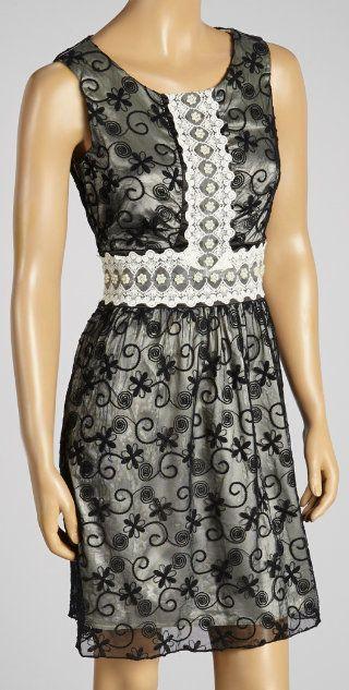 Black & Beige Lace Dress