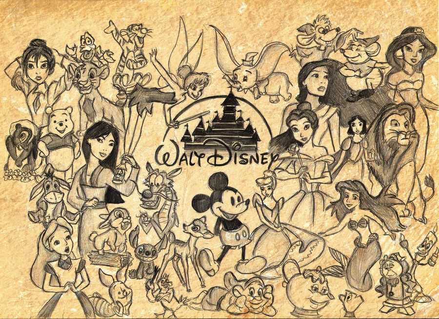 walt disney character collage