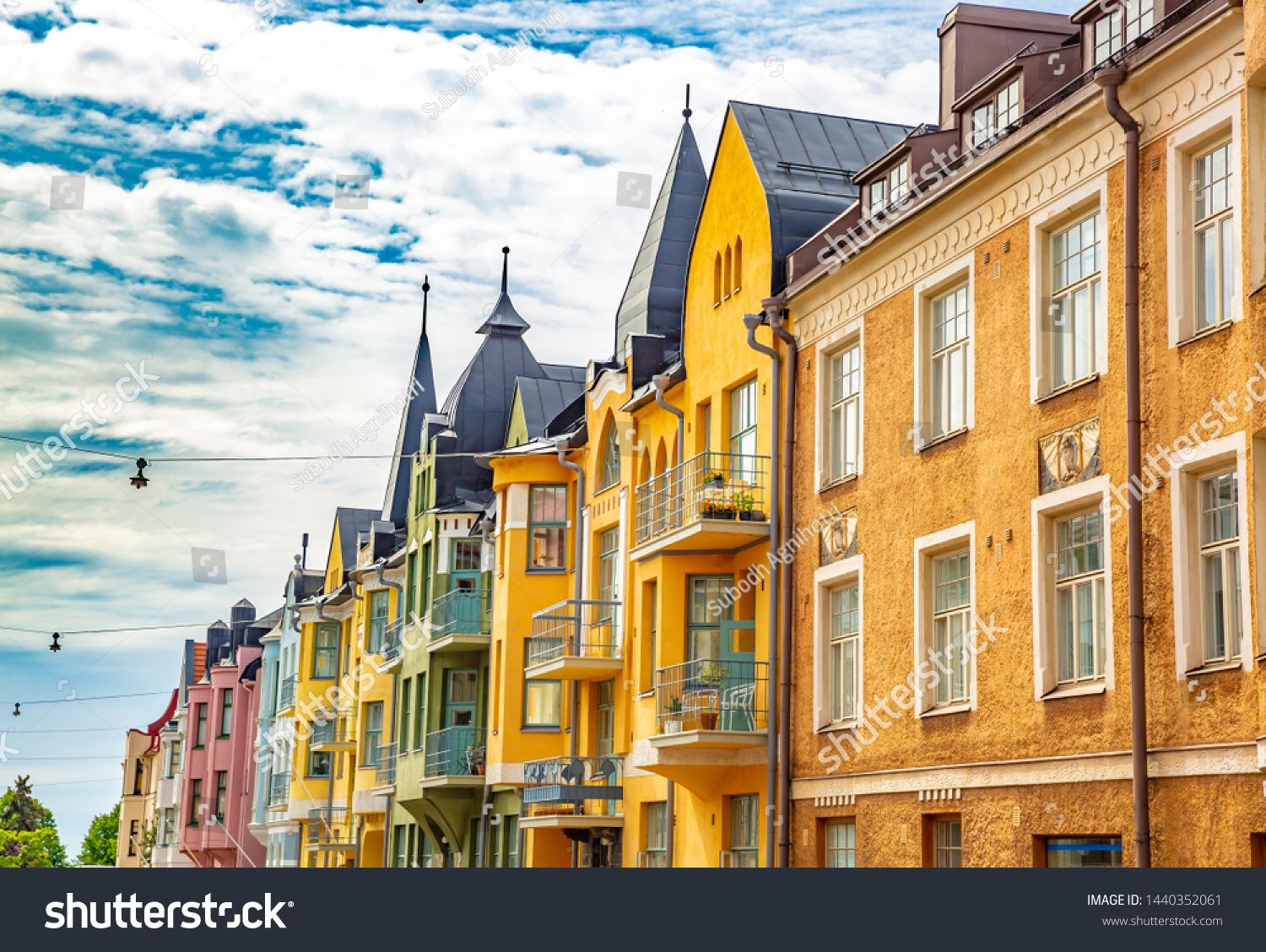 Multicolored Facades Of Buildings In Helsinki The Capital Of Finland The Traditional Scandinavian Architecture Ull Scandinavian Architecture Helsinki Facade