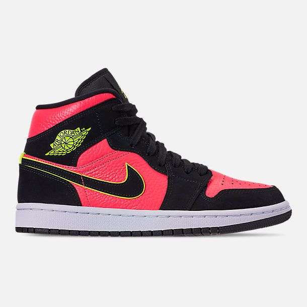 6e0236c3e58 Right view of Women's Air Jordan 1 Mid SE Casual Shoes in Black/Volight/Hot  Punch/White
