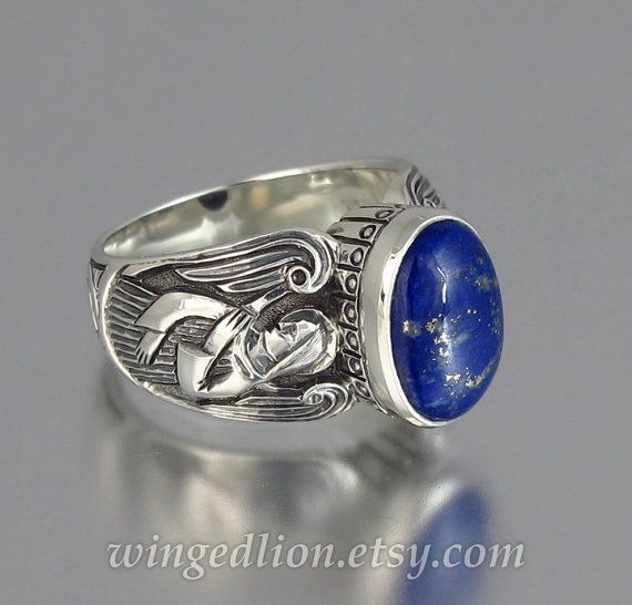 3d3cd844d7009 GUARDIAN ANGELS mens silver ring with Lapis Lazuli (sizes 8 to 14 ...