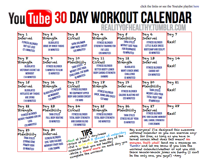 Workout Calendar Ideas : Day youtube free workout challenge the rest of this